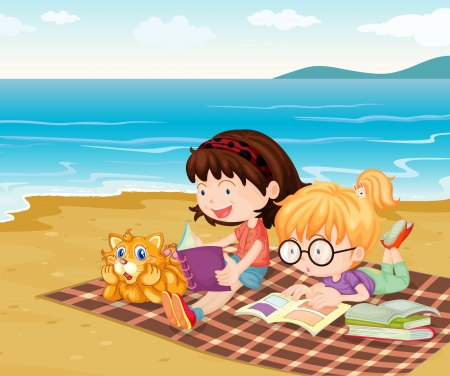 kids reading book: Illustration of girls at the beach