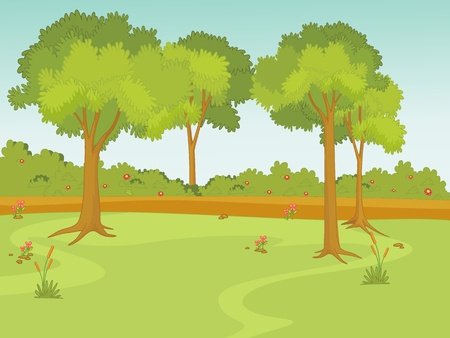 clearing: Illustration of a nature scene Illustration