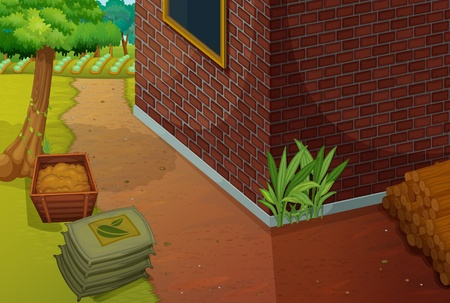 back yard: Ilustraci�n de un �rea del patio trasero