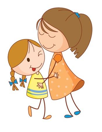 Illustration der 2 Schwestern umarmen