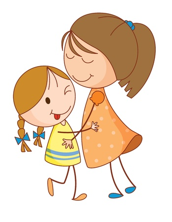 Illustration of 2 sisters embracing Stock Vector - 13593670