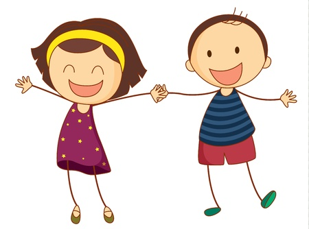 friends laughing: Illustration of 2 girls holding hands