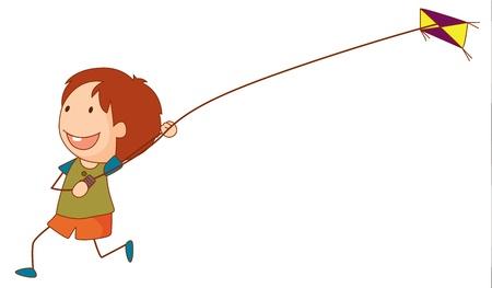 Simple cartoon illustration of a cute girl