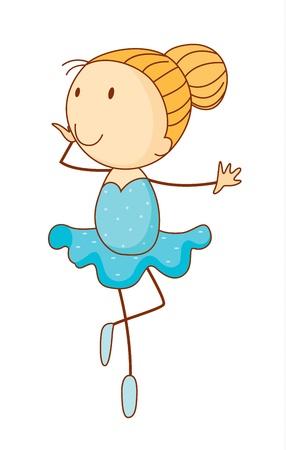 ballerina: Simple cartoon illustration of a cute girl