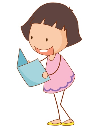 one story: Simple cartoon illustration of a cute girl