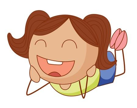 Eenvoudige cartoon illustratie van een schattig meisje