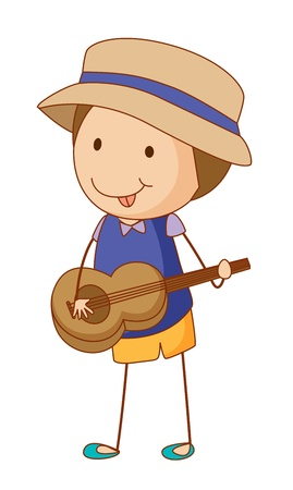 playing guitar: Illustration of a boy playing guitar