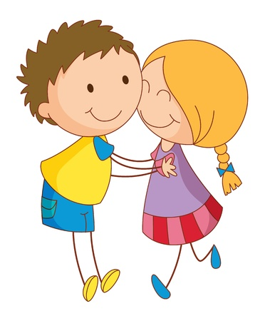 lover boy: Illustration of 2 young lovers Illustration