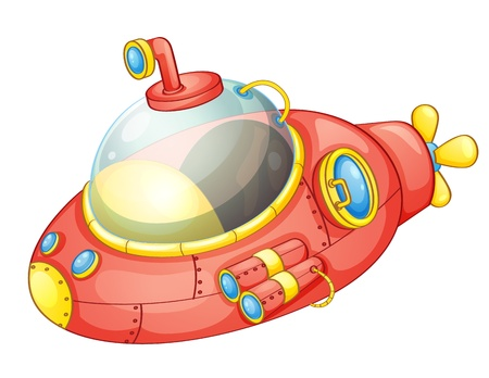 cartoon submarine: Illustration of a cartoon submarine