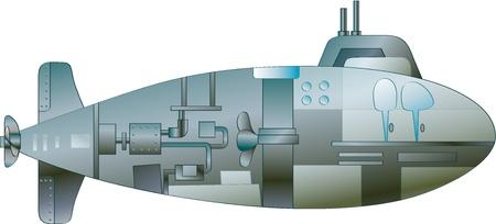 submarino: Ilustración de un submarino de dibujos animados