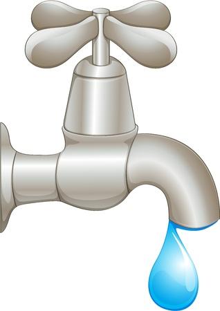 llave de agua: Ilustración de un grifo que gotea Vectores