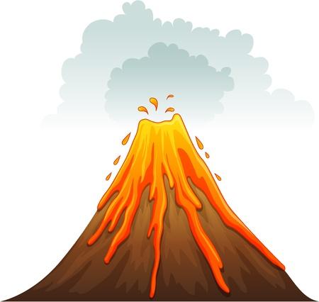 geografia: Ilustración de un volcán en erupción Vectores