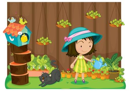 watering: Illustratie van een meisje het water geven planten