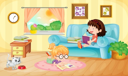Illustration of girls reading at home Vector