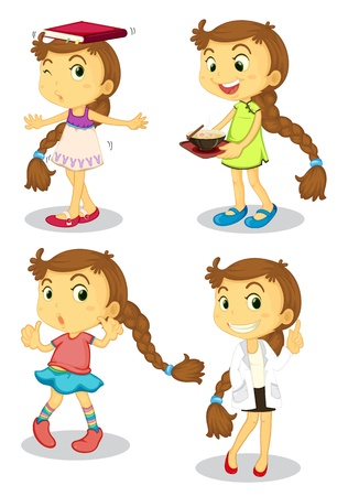 Illustration of a series of a cute girl Vector