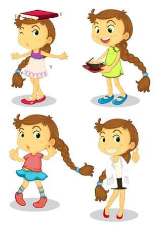 balanza de laboratorio: Ilustración de una serie de una linda chica