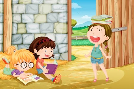 student learning: Illustration of girls studying at a farm