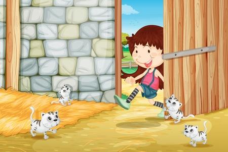 Illustration of kittens in a barn