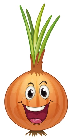 onion isolated: Illustration of a comical onion