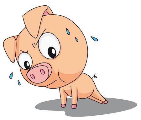 결정된: 우스꽝스러운 돼지의 그림 일러스트