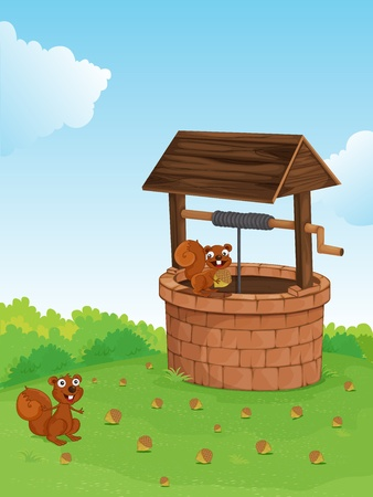 water well: Illustration of squirrels at a well