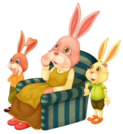 Illustration of a mother bunny and her children Vector