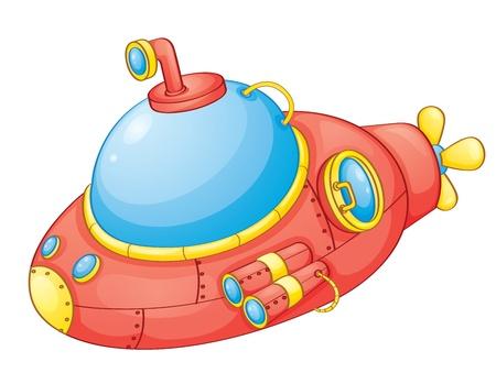 submarino: Ilustraci�n de un submarino de color rojo Vectores