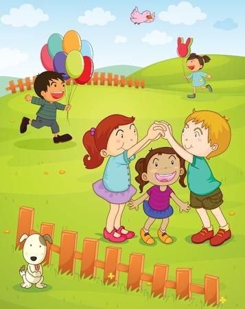 enfants qui jouent: Illustration d'enfants jouant dans le parc