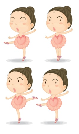 Illustration of four ballerina poses