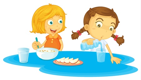 amigos comiendo: Ilustraci�n de dos ni�as de comer desayuno