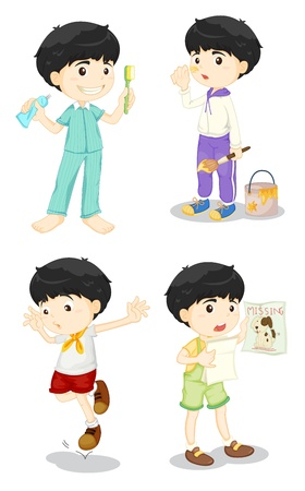 brushing teeth: Illustration of cute boy in four poses