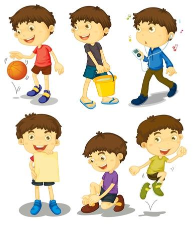 cartoon jongen: Illustratie van jongen in verschillende poses