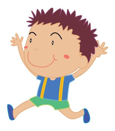 child running: Illustration of young boy running