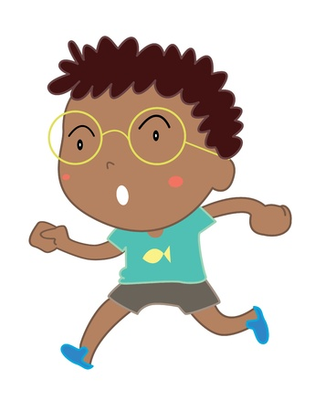 specs: Illustration of cute Indian boy on white