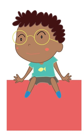 Illustration of cute indian boy sitting Vector