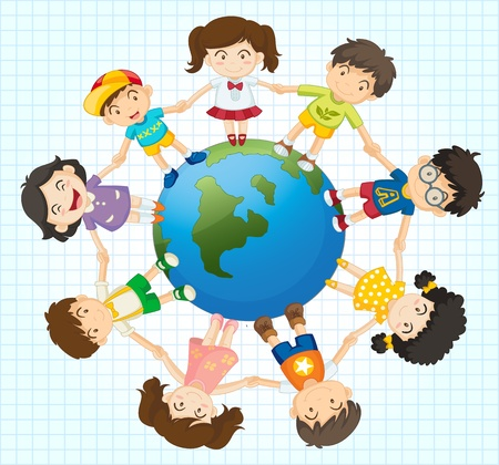 connected world: Illustration of kids around the earth Illustration