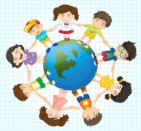 unterschiede: Illustration von Kindern rund um die Erde