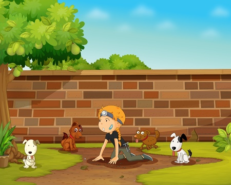 Illustration of a girl playing with dogs Vector