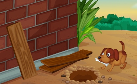 holes: Illustration of a dog digging for a bone Illustration