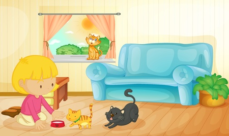 Illustration of a girl feeding her kittens Vector