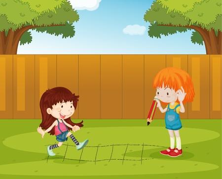 Ilustración de las niñas jugando en el patio trasero
