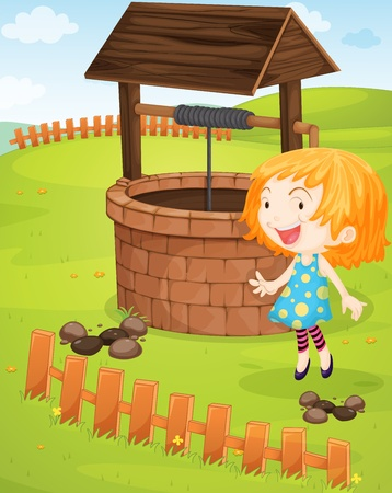 farm structures: Illustration of a girl at a well Illustration