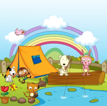 children pond: Illustration of animals camping and fishing