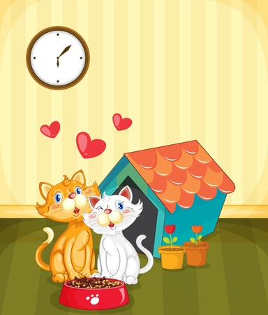 house cat: Illustration of two kittens in love