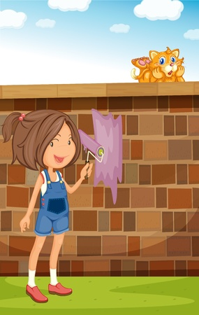 Illustration of a girl painting a fence