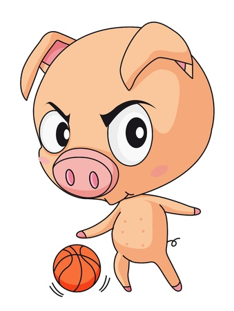 Illustration of pig playing basketball Vector