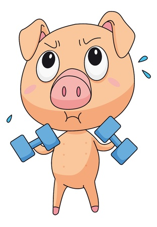 piglet: Illustration of pig lifting weights Illustration