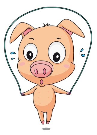 Illustration of a pig skipping Vector