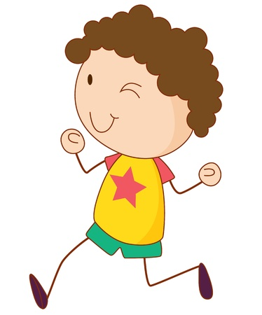 curly hair child: Illustration of a boy running