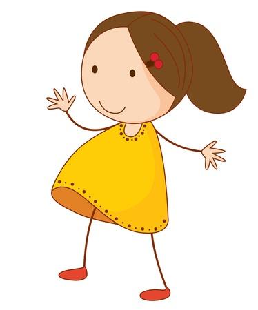 Ilustración de una niña de pie en blanco Ilustración de vector